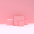 3d cube podium with pink background.