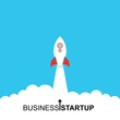 Business startup launch concept, flat design, rocket icon isolated on blue background. Vector illustration