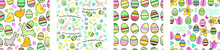 Seamless Patterns With Easter Symbols,eggs And Birds. Collection With Endless Textures
