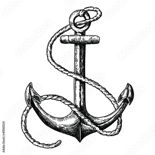 Foto Vintage hand drawn anchor isolated on white background, pen and ink line etching
