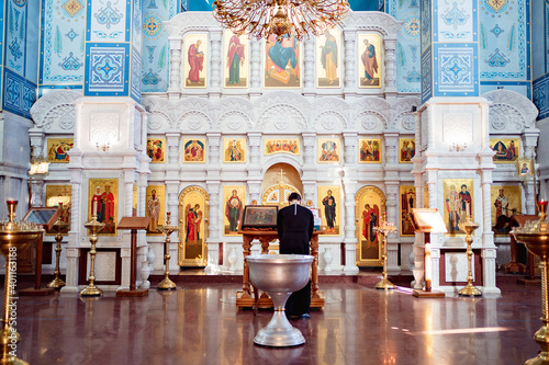 baptismal font in Orthodox Church with cover of with a handle Fototapet