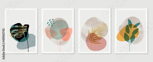 Slika na platnu Botanical and gold abstract wall arts vector collection