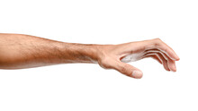 Isolated Of Male Caucasian Hand Holding Something Like A Bottle Or Can.