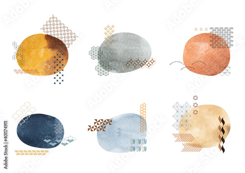 Fototapeta Set of brush stroke elements vector. Asian icons with Japanese pattern. Abstract banners with flowing liquid shapes. Template for logo design with watercolor texture decoration. obraz