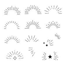 Hand Drawn Style Sunburst Frame Set, Vector Design Elements