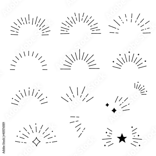 Fototapeta Hand drawn style sunburst frame set, Vector design elements obraz