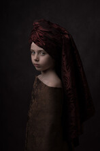 Renaissance Studio Portrait Of A Girl With A Turban In Classic Painterly Rembrandt Style