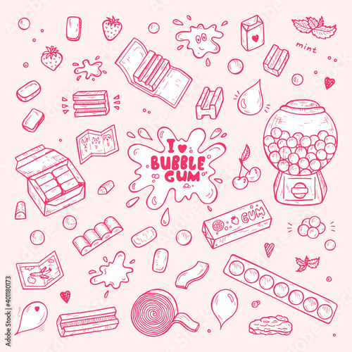 Vector Bubble Gum Set. Hand Drawn Doodle Chewing Gums and Candy. Sweets