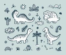 Extinct Animals. Cute Cartoon Dinosaur Vector Set. Hand Drawn Doodle Dinosaurs: Tiranossauro Rex, Triceratops, Stegosaurus, Diplodocus And Plants