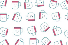 Seamless Pattern Cute Cartoon Expressions Cups Flat Style Vector Illustration For Decoration, Coloring Book, Backgrounds, Gift Wrapping .