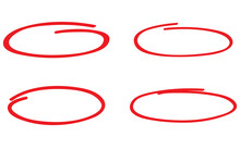 Red Circle, Pen Draw Set. Highlight Hand Drawn Circle Isolated On Background. Handwritten Red Circle. For Marker Pen, Pencil, Logo And Text Check. Circle Vector Illustration