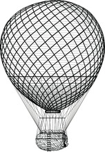 Beautiful Classic Retro Balloon With A Basket For Passengers On A White Background