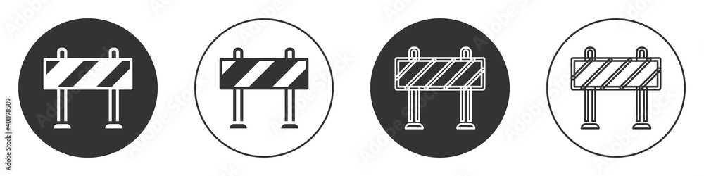 Fototapeta Black Road barrier icon isolated on white background. Symbol of restricted area which are in under construction processes. Repair works. Circle button. Vector.