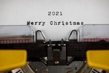 Merry Christmas 2021 Written On An Old Typewriter