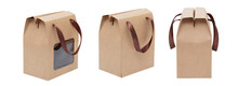 Brown Kraft Paper Bag Isolated On White Background, Clipping Path, Use For Packaging Food Or Product