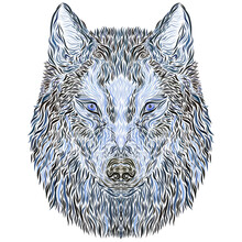 Mysterious Wolf Head With Blue Watchful Eyes, Creative Pattern