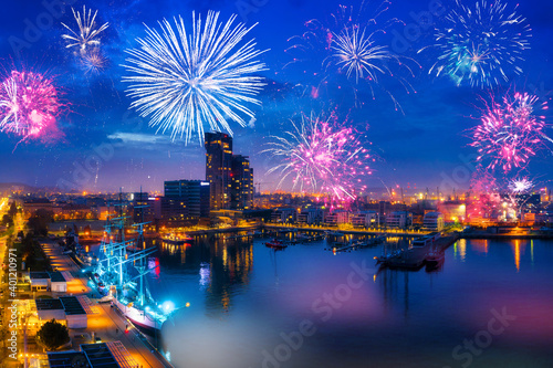 Fireworks display in Gdynia by the Baltic Sea. Poland