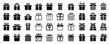 Gift Box Set Different Icon, Collection Present Gift Signs, Surprise Christmas Present Box Isolated - Vector