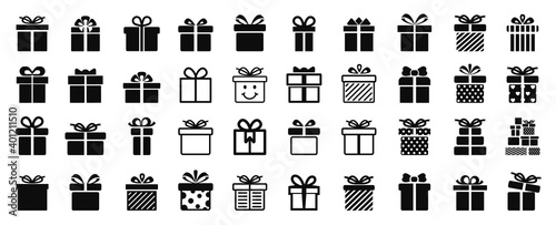 Fototapeta Gift box set different icon, collection present gift signs, surprise Christmas present box isolated - vector obraz
