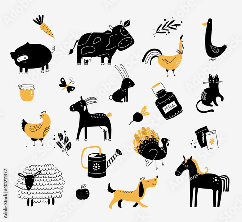 Carta da parati flat vector illustration of cute farm animals