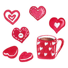 Set Of Valentine's Day Love Themed Illustrations With Hand Painted Decorated Hearts, Coffee Mug And Chocolates.