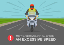 Road Accident Involving A Motorcycle. Most Accidents Are Caused By An Excessive Speed Warning Poster Design. Flat Vector Illustration Template.