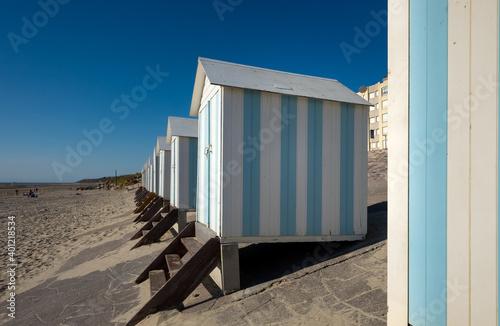 Obraz na plátně Striped beach cabins in Hardelot, France.