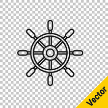 Black Line Ship Steering Wheel Icon Isolated On Transparent Background. Vector.