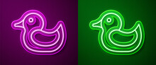 Glowing Neon Line Rubber Duck Icon Isolated On Purple And Green Background. Vector.