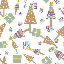 Vector Abstract Christmas Tree And Gift Box Seamless Pattern. Suitable For Gift Wrap, Decoration, Book Scrapping And Other Design Projects.