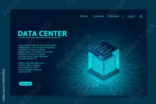 Datacenter isometric vector illustration. Data center room background. Computer storage or farming workstation. Vector illustration