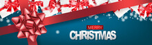Christmas Banner Or Website Header. Merry Xmas And Happy New Year Design For Invitation Or Sale Advertisement With Gift Boxes, Snow On Blue Background With Red Ribbon And Bow. Vector Illustration.