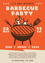 Barbecue Party Flyer. BBQ Poster Template Design. Summer Barbeque Editable Card. Stock Vector Illustration