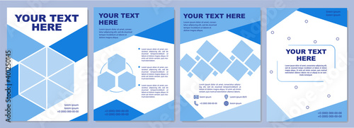 Fototapeta Blue corporate brochure template. Simple presentation slides. Flyer, booklet, leaflet print, cover design with text space. Vector layouts for magazines, annual reports, advertising posters obraz