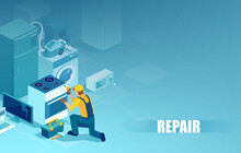 Vector Of A Handy Man Repairing Home Appliances