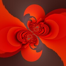 3D Cyclone Patterns And Designs In Shades Of Vivid Red On Grey And Black Background