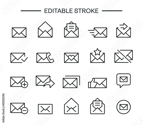 Cuadros en Lienzo Correspondence line icons set, outline vector symbol collection, linear pack ico