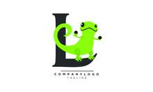 L LIZARD Icon Monogram Letter Text Alphabet Logo Design