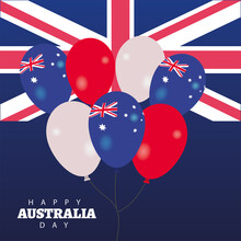 Happy Australia Day Lettering With Flag And Balloons Helium