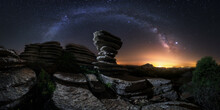Majestic Scenery Of Rocky Terrain With Colorful Milky Way On Background In Iceland