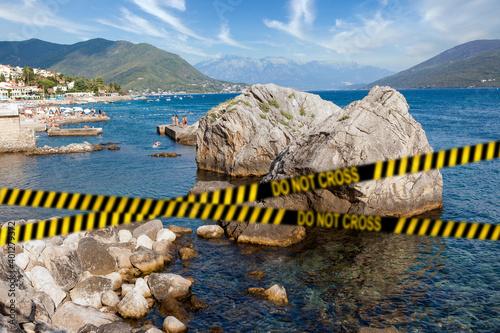 Tablou Canvas Barrier tape - quarantine, isolation, entry ban