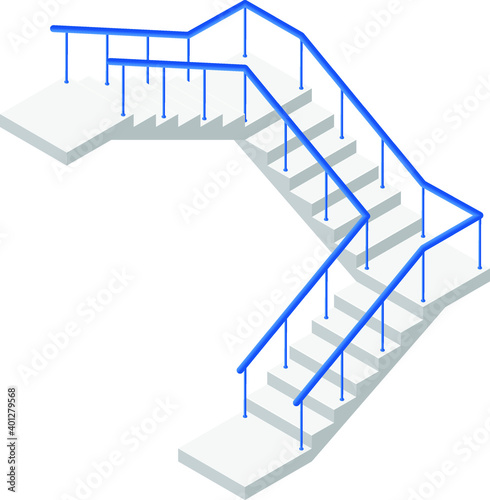 Fototapeta Industrial flight of stairs icon in isometric view