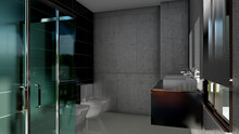 Interior Of Modern Spacious Bathroom With Stone Walls And Glass Shower Cabin In Contemporary Apartment