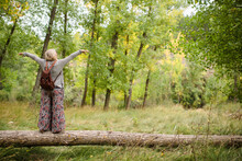 Full Body Of Back View Of Unrecognizable Content Blonde Female Traveler In Stylish Outfit Balancing On Fallen Tree Trunk With Hands Apart While Enjoying Summer Day In Green Forest