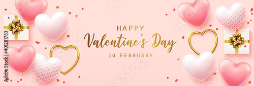 Obraz Happy Valentine's Day with calligraphy text. Horizontal banner for the website. Romantic background with realistic design elements, gift box, metal hearts, balloons in the shape of heart - fototapety do salonu