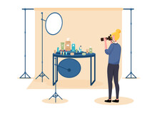 Female Photographer On Set Doing Commercial Photography. Concept Of Professional Commercial Shoot With Camera, Lights, Background And Reflectors. Flat Cartoon Vector Illustration