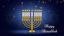 Happy Hanukkah, Jewish Holiday Background Animation Footage,golden Menorah Candles,golden Star Of David Raining,glowing And Glittering Stars,dark Gradient Blue Background