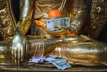 Traditional Religious Figure Of Buddha Placed In Oriental Temple For Religious Prayers And Rituals