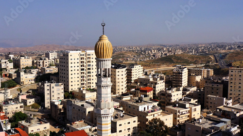 Obraz na plátne Mosque Tower minaret With Speakers in Jerusalem Beautiful Drone footage with Jor