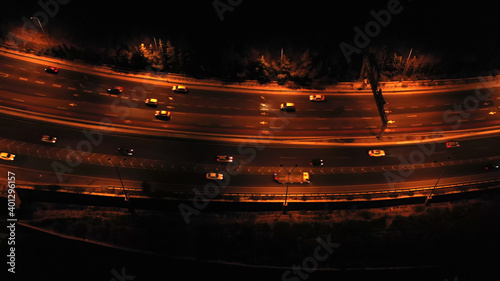 Fotografie, Obraz Highway with traffic at night aerial view Drone footage tel aviv and Jerusalem H